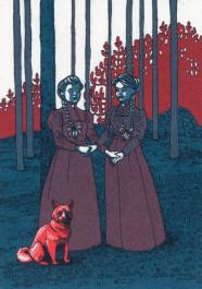 Kissing behind the Barricades -postikortti - Kaksi naista ja koira