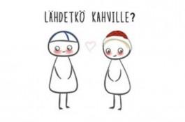 Finnish Nightmares -postikortti - Lähdetkö kahville?