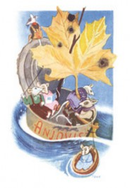 Tove Jansson -postikortti - Hiiret anjovispurkissa