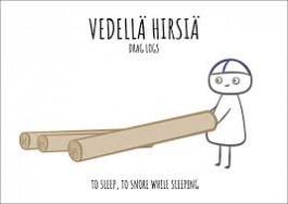 Finnish Nightmares -postikortti - Vedellä hirsiä