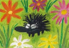 Kiroileva siili -jättikortti - Kukkaniityllä