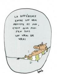 Piggu Possu -postikortti - La différence entre un vrai artiste et moi, c'est que moi j'en suis un vrai de vrai
