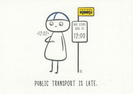 Finnish Nightmares -postikortti - Public transport is late