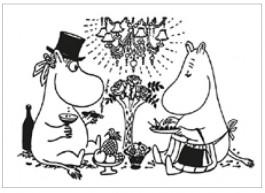 Tove Jansson -muumipostikortti - Muumipappa ja Muumimamma aterialla