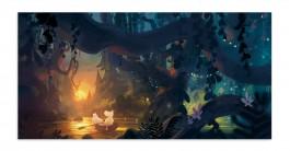 Muumi-panoramapostikortti - Muumit soutamassa