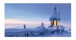 Muumi-panoramapostikortti - Talvinen Tuutikin uimahuone