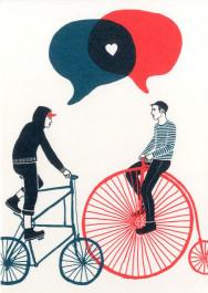Kissing behing the Barricades -postikortti - Rakkautta ja pyöräilyä