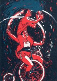 Kissing behing the Barricades -postikortti - Pyörällä temppuilijat
