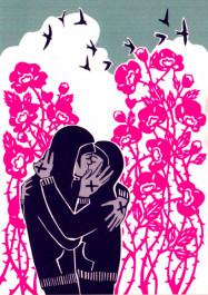 Kissing behind the Barricades -postikortti - Ruususuudelma