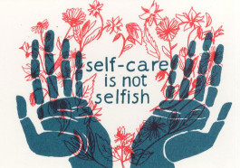 Kissing behind the Barricades -postikortti - Self-care is not Selfish