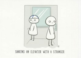 Finnish Nightmares -postikortti - Sharing an elevator with a stranger