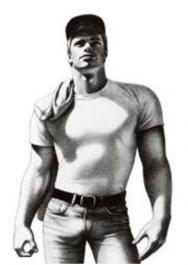 Tom of Finland / Valkoinen t-paita -postikortti
