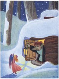 Tove Jansson -postikortti - Enkeli ovella