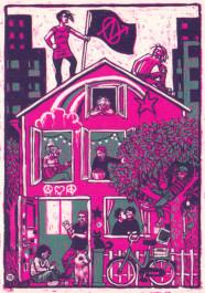 Kissing behind the Barricades -postikortti - Vallattu talo