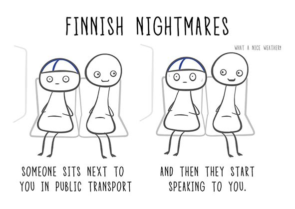 Finnish Nightmares -postikortti - Someone sits next to you in public transport and then they start speaking to you