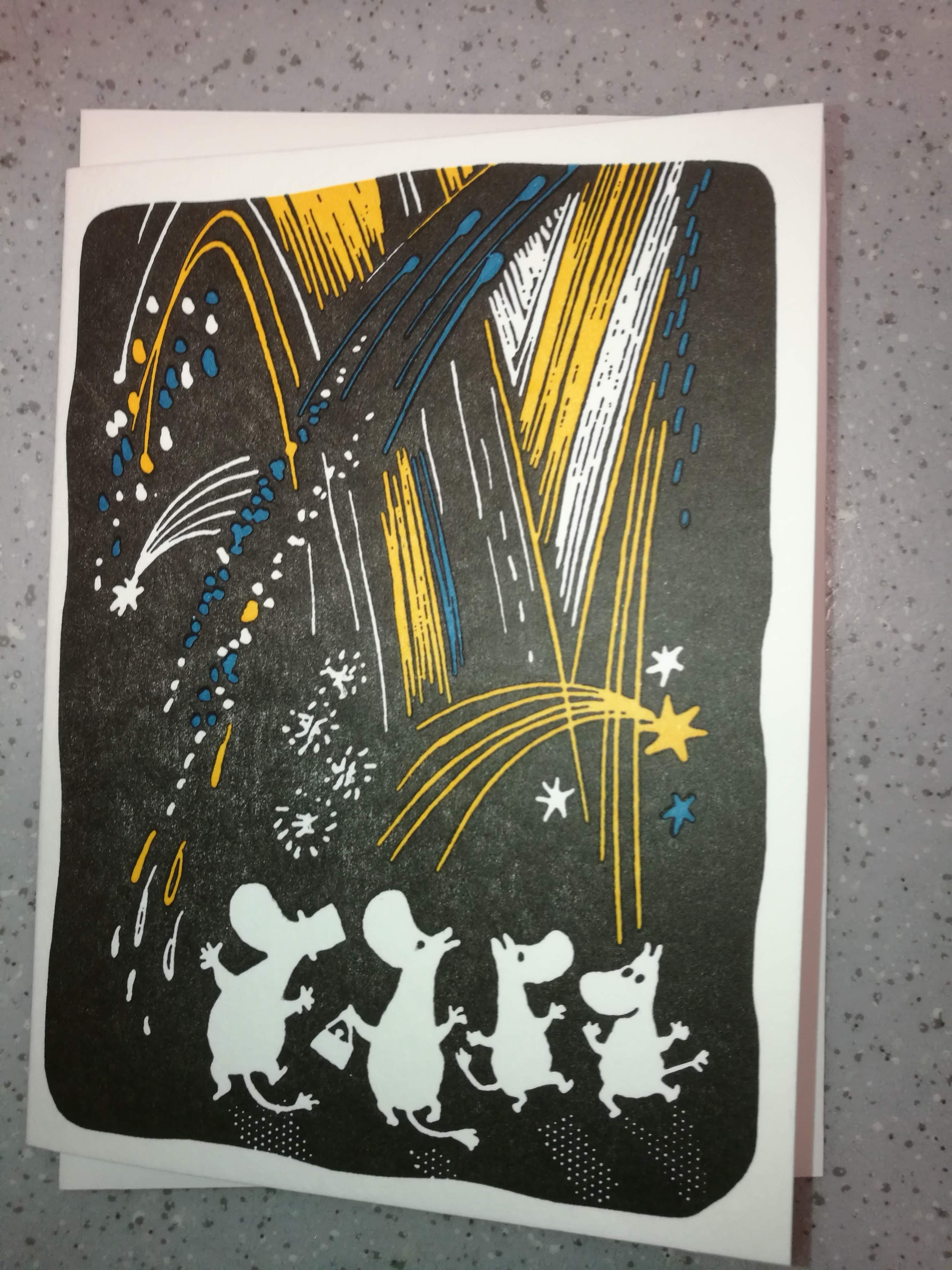 Tove Jansson - 2-osainen muumipostikortti - Ilotulitus