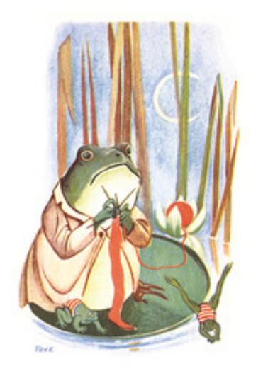 Tove Jansson -postikortti - Sammakko neuloo