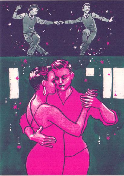 Kissing behind the Barricades -postikortti - Tanssi