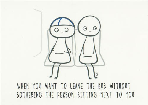 Finnish Nightmares -postikortti - When you want to leave the bus without bothering the person sitting next to you