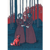 Kissing behing the Barricades -postikortti - Kaksi naista ja koira