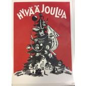 Tove Jansson: Tove Jansson - 2-osainen muumipostikortti-Hyvää joulua.