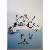 Tove Jansson - 2-osainen muumipostikortti - Muumit uimassa