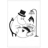 Tove Jansson -muumipostikortti - Muumipappa ja kehto