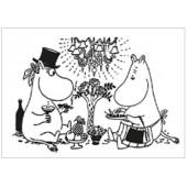 Muumipostikortti - Muumipappa ja Muumimamma aterialla (kohopainettu)