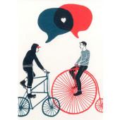 Kissing behind the Barricades -postikortti - Rakkautta ja pyöräilyä
