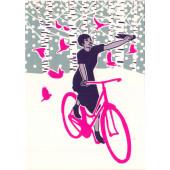 Kissing behind the Barricades -postikortti - Talvipyöräilijä