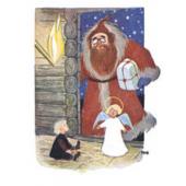 Tove Jansson -joulukortti - Joulupukki ja enkeli