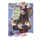 Tove Jansson -joulukortti - Joulupukki suksilla