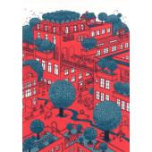 Kissing behing the Barricades -postikortti - Vihreä kaupunki